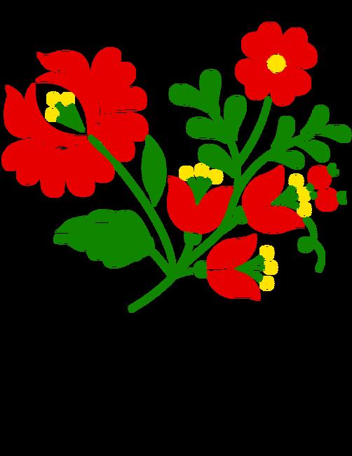 e796ef3a23 Kalocsai virágok 3 színnel A póló minta - Pólómánia