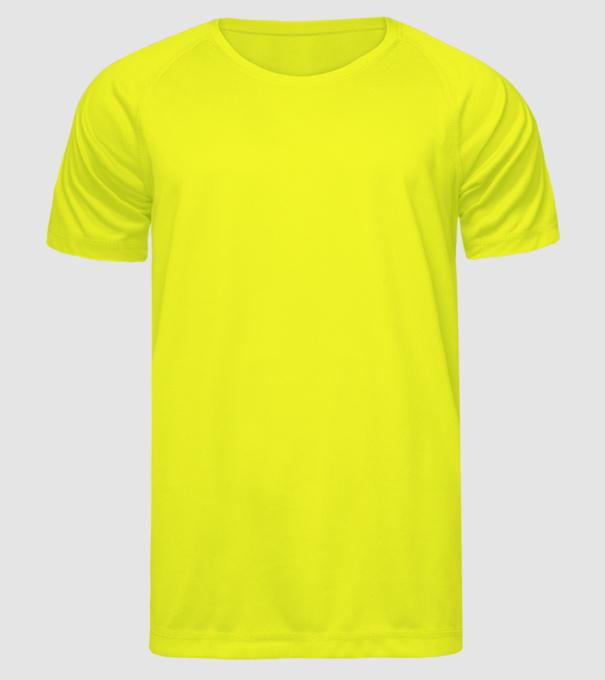 eac3a5b32b Spongyabob 1 minta neonsárga pólón. Eleje. Férfi Sportmez póló minta.  Hátulja